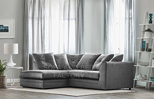 Roxie Plush Velvet 3 Seater Fabric Corner Sofa Grey Small Chaise (Left Hand Facing)