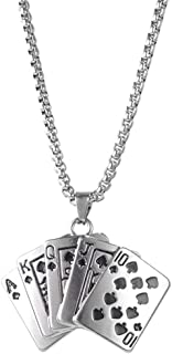 Men's Stainless Steel Royal Flush Poker Games Pendant Necklace The King Of Hearts Playing Card Poker Tag Pendant Clavicle ...