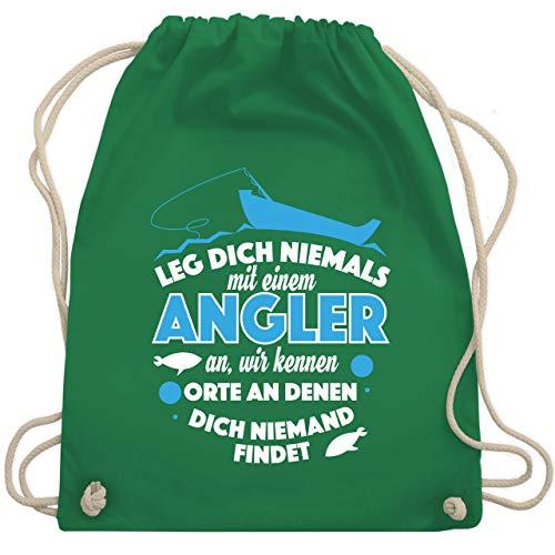 Shirtracer Angeln - Leg dich niemals mit einem Angler an - Unisize - Grün - adventskalender angeln - WM110 - Turnbeutel und Stoffbeutel aus Baumwolle