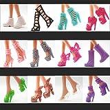 BeesClover Creative Life 12Pairs/Set Surtido de Moda Colorido Estilo Mixto Sandalias Tacones Altos Zapatos de Muñeca Accesorios Ropa