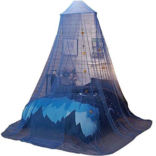 GrazeChoice® Moskitonetz-Betthimmel, Bettvorhänge für Prinzessinnenbett mit Sternen, Bett-Zelt für Mädchen und Jungen, in Blau