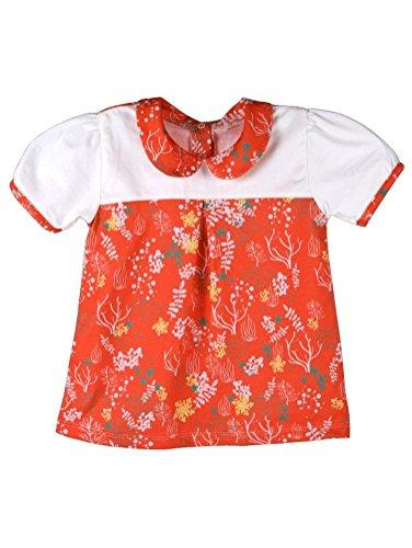 Baby blouse oranje met ecologisch wit (86/90)