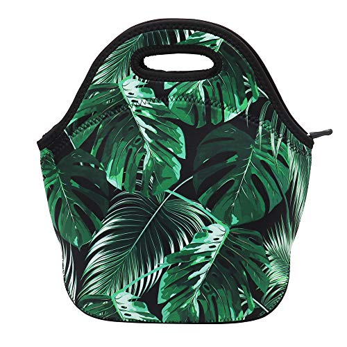 Neoprene Lunch Bag Insulated Lunch Box Tote for Women Men Adult Kids Teens Boys Teenage Girls Toddlers (Tropical Leave)