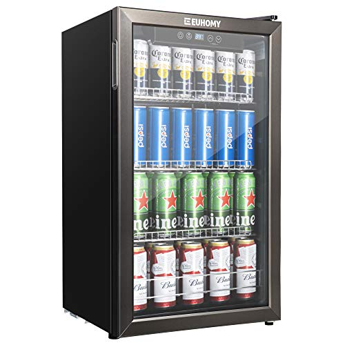 Euhomy Beverage Refrigerator and Cooler, 130 Can Mini fridge with Glass Door, Small Refrigerator with Adjustable Shelves for Soda Beer or Wine , Perfect for Home/Bar/Office, Black Stainless Steel Display Refrigerators