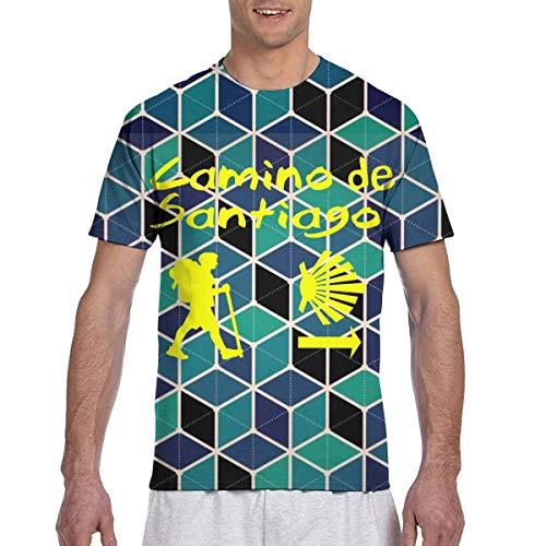 Actuallyhome Camino De Santiago Compostela Camiseta clásica de Manga Corta con Estampado a Doble Cara para Hombre, Camiseta con Cuello Redondo