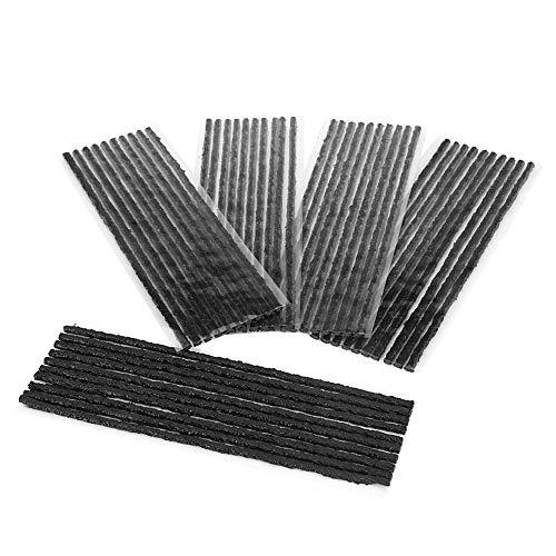 Yctze 50 piezas de tira de reparación de neumáticos, negro 200 * 3,5 mm neumático sin cámara sello de reparación de pinchazos tiras de goma coche motocicleta
