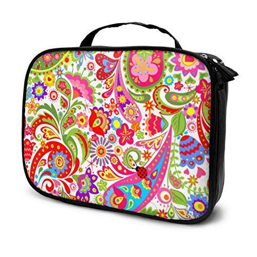 Papel Pintado Decorativo Colorido Flores étnicas Paisley Viaje Bolsa de Aseo Grande...