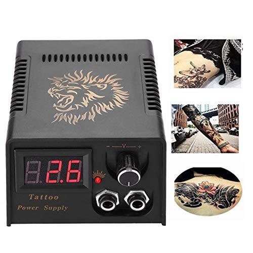 Fuente de alimentación de la máquina de tatuaje, pantalla LCD profesional Lion Head Tattoo Fuente de alimentación Tatuaje negro Transformador para salón(EU)