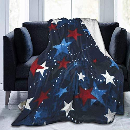 Manta de Lana, Manta de Tiro Vintage con Estrellas Coloridas, Manta Suave y cálida para Adultos, niños, Manta de Microfibra de Felpa para sofá Cama