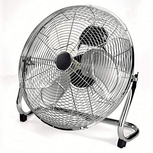 Ruhiger Bodenventilator 100 Watt Lüfter Tischventilator Windmaschine (3 Alu-Flügel, 45 cm, Ventilator, Leiser Motor, Silber)