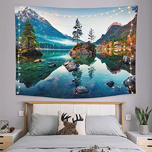 onetoze Zielone wzgórza i zielone wody hipisowskie bohema gobelin ścienny wiszący gobelin jako sztuka ścienna i dekoracja domu do sypialni salonu, pościel gobelin, 130 x 150 cm (51 cali x 59 cali)