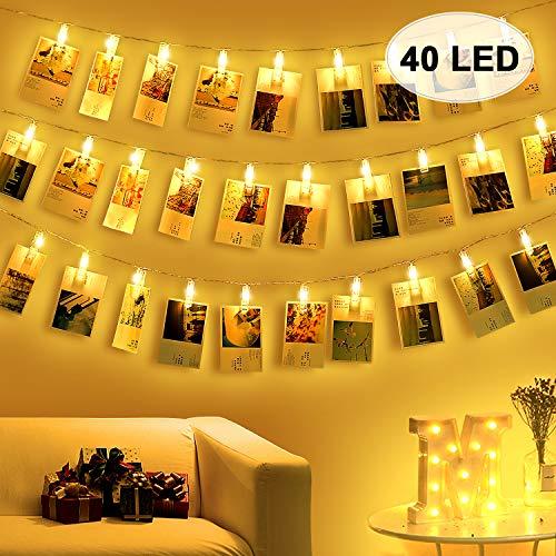 40 LED Foto Luz Pinzas Luz Fotos - Guirnaldas Decoracion Leds Colgar Fotos Luces Pared Decorativas Cadena de Fotos Guirnalda Luces Fotos Clips Cadena de Luces