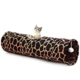 LUCKITTY Cat Toys Collapsible Large Tunnel Tube Plush Ball Rabbits, Kittens, Ferrets,Puppy Dogs,White,Navy,Blue