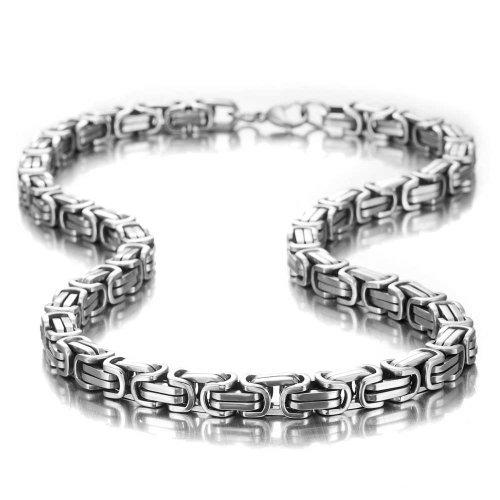 Urban-Jewelry Beeindruckende Herren Halskette Edelstahl Silber Kette im Mechanischen Stil, Breite 8mm, Länge 53cm