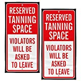 """Rockin Towel Reserved Tanning Space Decorative Beach Towel 30"""" x 60"""" 2 Pack Soft Cotton Velour Towel Ideal for The Beach Pool Sunbathing"""