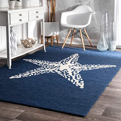 D&H 3'x5' Navy Blue White Starfish Beach Sealife Printed Area Rug, Indoor Outdoor Coastal Pattern Living Room Rectangle Carpet, Graphic Art Themed, Soft Synthetic Modern Fancy Colorful Rich Textures