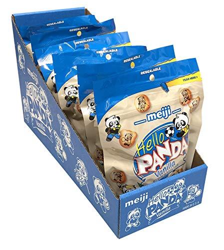 Meiji Hello Panda Cookies, Vanilla Crème Filled - 7 Oz, Pack of 6 - Bite Sized Cookies with Fun Panda Sports