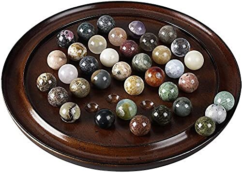 Authentic Models Semi-Precious Stone Marbles Solitaire Di Venezia Game with braun Hardwood Board by Authentic Models