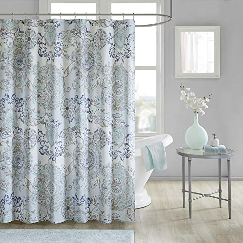 "Madison Park Isla 100% Cotton Percale Shower Curtain, Floral Medallion Boho Printed Watercolor Cute Modern Home Bathroom Decor, Bathtub Privacy Screen, 72"" x 72"", Blue"