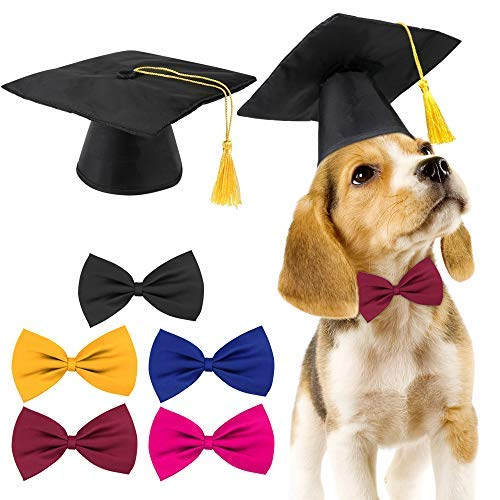 Meetory 2 Pieces Pet Graduation Caps with 5 Pieces Bow Tie Necktie Collar, Small Dog Graduation Hats with Yellow Tassel Costume Great for Pet Training Camp Dogs Cats Holiday Costume Accessory
