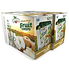 Packaging May Vary 24 bags per case, 2 fruit servings per bag 100% Freeze Dried Asian Pears Non-GMO Project Verified Project Verified, Vegan, Kosher, Gluten Free, Peanut and Tree Nut Free No additives, preservatives, or dyes