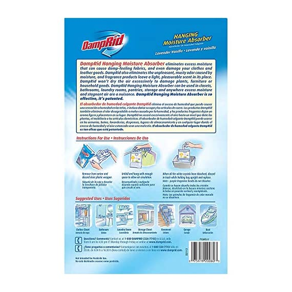 Damprid 773822075241 fg83k hanging moisture absorber fresh scent (3 boxes of 3 bag, blue 3 hanging bag protects valuable clothing from damage and musty odors. Effective for up to 60 days. Nontoxic and septic safe.