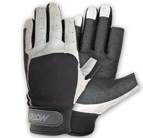 MOTIVEX Segelhandschuhe schwarz-grau Rückseite Neopren 2 Finger kurz Grösse L