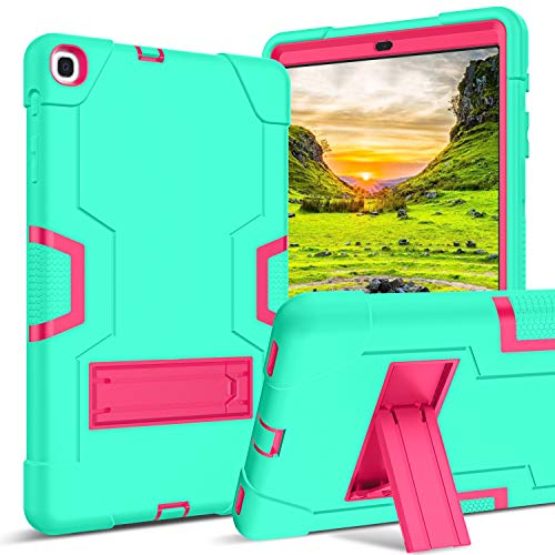 Galaxy Tab A 10.1 2019 Case SM-T510/T515 GUAGUA Kickstand 3 in 1 Hybrid Hard Heavy Duty Rugged Shockproof Protective Anti-Scratch Tablet Case for Samsung Galaxy Tab A 10.1 2019 Mint Green/Rose