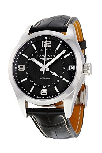 Longines Conquest Classic GMT Automatic Steel Mens Strap Watch Black Dial Kalender L2.799.4.56.5