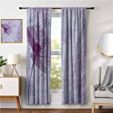 Poppy Rustic Curtains for Living Room Poppy Flower Artwork with Poetry Pattern Romance Theme Floral Artsy Vintage Style Graphic Print Bedroom Curtains Decor W52 x L96 Inch Lilac