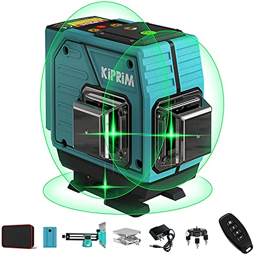 Kiprim Niveau Laser Vert 3x360° 12 Lignes Laser Croix Autonivelant 40M avec 3 Modes Support Mural...