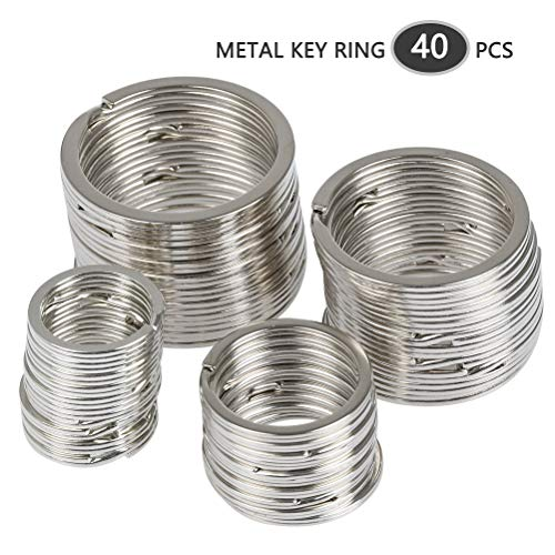 ATPWONZ 40 Stücke Schlüsselringe, Schlüsselanhänger Ringe aus Edelstahl, Spaltringe mit verschiedenen Größen von 20mm/25mm/32mm/35mm Hausschlüsseln, Autoschlüsseln usw.