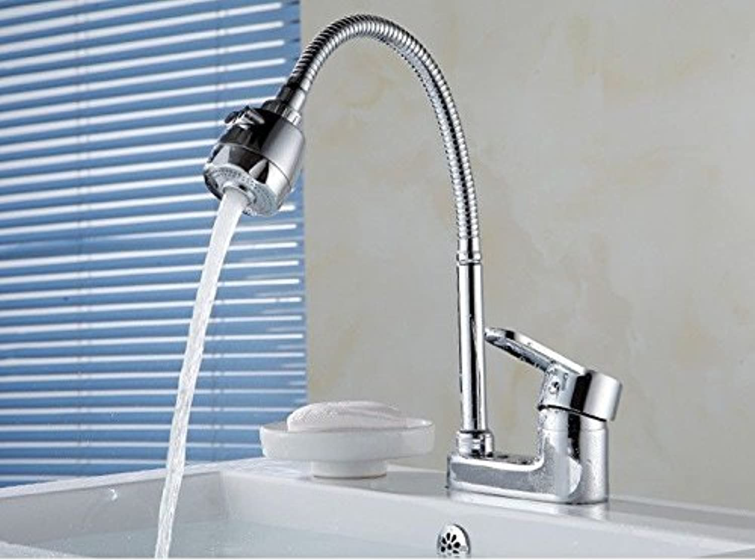 JWLT Washbasin, Faucet Bathroom, hot and Cold wash Basin, Double Hole Three Hole wash Basin, face Plate Faucet,B Vientiane hot and Cold 80cm Steel Wire Pipe