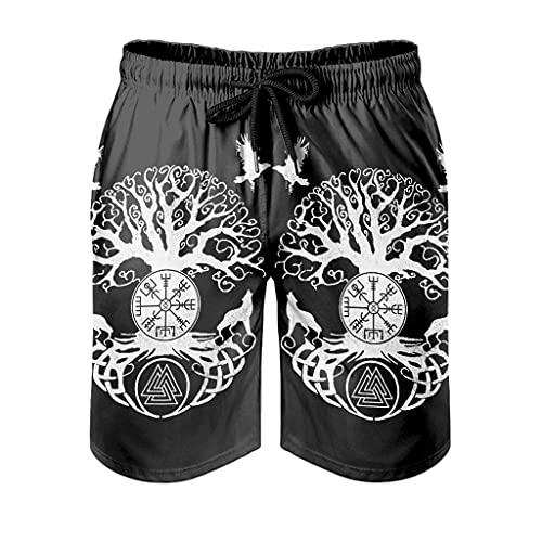 Dessionop Pantalones cortos de playa vikingos árbol de la vida Vegvisir Wolf cuervo estampado pantalones cortos con forro de bolsillo, color blanco frío, L