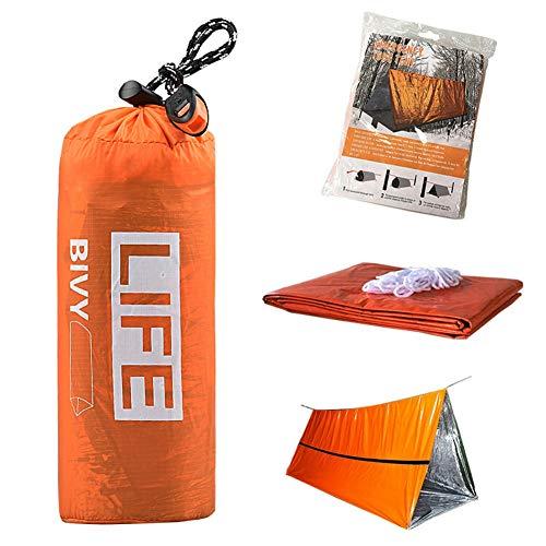 Leezo Outdoor Life - Saco de Dormir de Emergencia, térmico, Resistente al Agua, Primeros Auxilios, Manta de Emergencia, Camping, Equipo de Supervivencia, Naranja, First Aid PE Tent