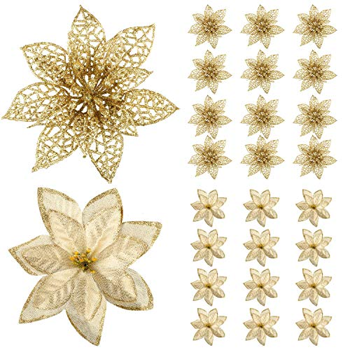 24 Pack Glitter Poinsettia Christmas Tree Ornaments Artificial Christmas Flowers for Christmas New Year Wedding Party Floral Decorations (Gold)