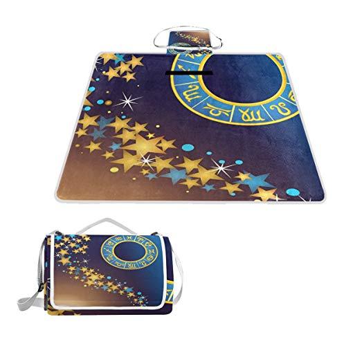 LORONA Zodiac teken ster Symbool Ram picknick deken Tote Handy Mat meeldauw bestendig en waterdicht Camping Mat voor picknicks, Stranden, Wandelen, Reizen, RVing en Uitstapjes