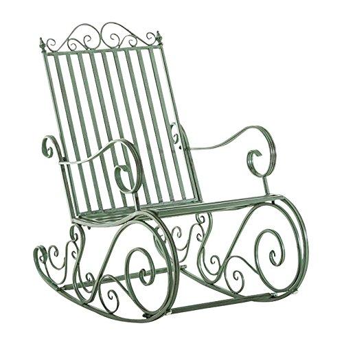 CLP Eisen-Schaukelstuhl SMILLA im Landhausstil I Schwingstuhl mit hoher Rückenlehne I erhältlich, Farbe:antik-grün