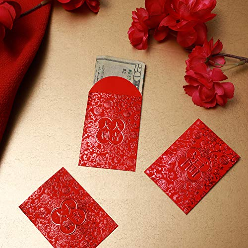 Red Lucky Money Envelopes for Chinese and Lunar New Year (2.25 x 3 in, 90-Pk)