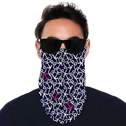 Face Mask Bandana with Ear Loops Retro Marine Anchor Scarf Neck Gaiters Balaclava Dustproof UV Protection Headwear