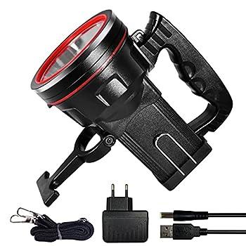 Lampe Torche LED Rechargeable Étanche IPX4, Lampe de Poche Rechargeable 10400mAH/ 5 Modes d'éclairage/Batterie Externe 5V 2A, Lampe Camping pour Randonnée Camping