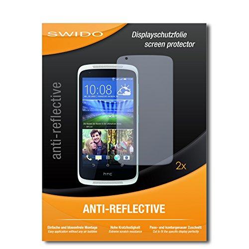 SWIDO Schutzfolie für HTC Desire 526G Dual SIM [2 Stück] Anti-Reflex MATT Entspiegelnd, Hoher Härtegrad, Schutz vor Kratzer/Displayschutz, Displayschutzfolie, Panzerglas-Folie