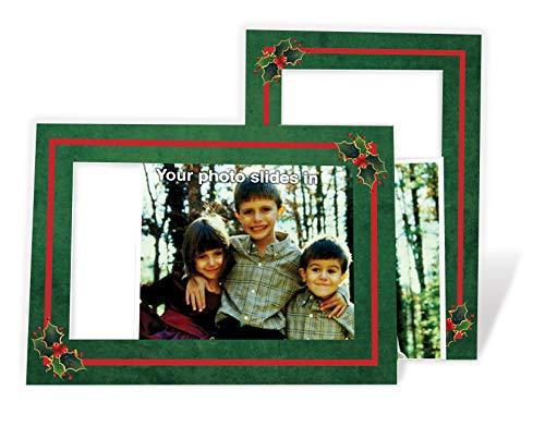 Holly Holiday Card - 4x6 Photo Insert Note Cards - 24 Pack by Plymouth Cards