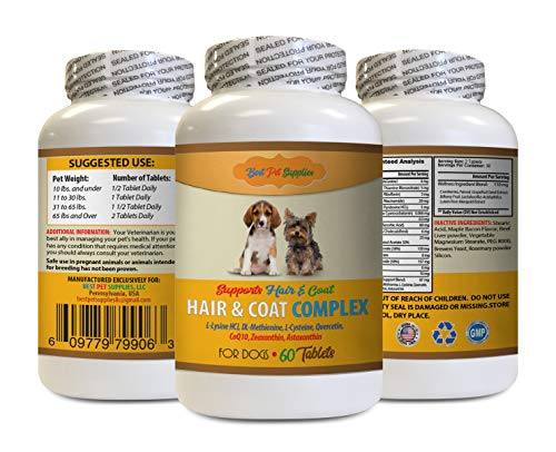 BEST PET SUPPLIES LLC Dog Dandruff Treatment - Hair and Coat Complex for Dogs - Full Skin and Hair Health - Immune Boost - Dog Vitamin b Supplement - 60 Tablets (1 Bottle)