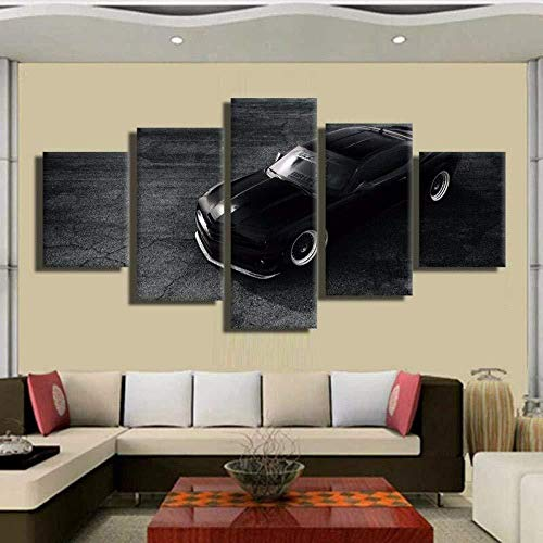 Suwhao Zwarte Chevrolet Corvette Poster 5 Panel Muurschildering Foto's Canvas Huis Moderne Decoratie Woonkamer Frame