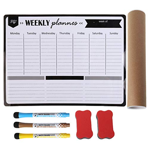 ruiruiNIE planificador semanal, Organizador semanal de Limpieza en seco Pizarra Personal Pizarra magnética Suave imanes de Nevera Mensaje recordatorio Bloc de Notas