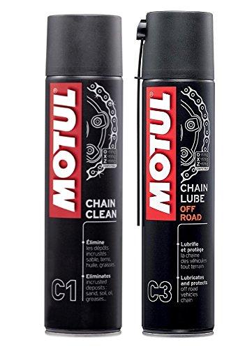 MOTUL Pack + Económico MC Care Spray Lubricante Cadena (C3) y Limpiador de Cadena (C1) Motos de Carretera.