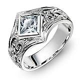 ハワイアンジュエリー リング 刻印無料 誕生石入れ可 シルバー925 スクロール スクエアジルコニア 指輪 日本サイズ18号 SR601