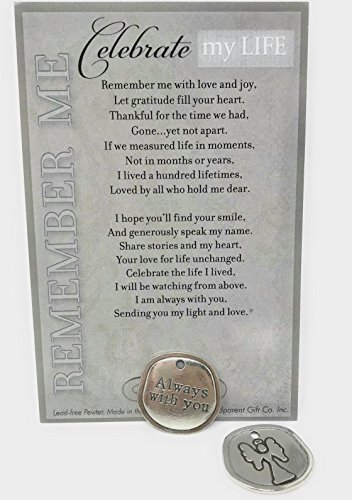 """Bereavement/Sympathy/Remembrance/Memorial/Inspirational Keepsake Pewter Coin with """"Celebrate My Life"""" Poem- Thoughtful Offering for Grieving Heart"""