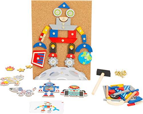 Small foot 11572 Hämmerchenspiel Roboter aus Holz und Kork, mit Motiven zum Thema Roboter und Weltraum, ab 6 Jahren